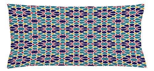 Arabesque Antike (Arabian Überwurf Kissen Kissenbezug von ambesonne, Retro Illustration Nostalgie Arabesque Antik Geometrische Star Barock Motiven, dekorative quadratisch Accent Kissen Fall, 91,4x 40,6cm, rot blau gelb)