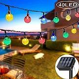 DeepDream Solar Lichterkette Außen mit LED Kugel 7.5M 40LEDs 8 Modi IP65 Wasserdicht Bunt,Kristallbälle Beleuchtung für Garten, Bäume,...