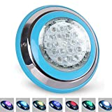 Roleadro 54w LED Poolbeleuchtung RGB IP68 Edelstahl Schale,Unterwasser Led Pool mit Fernbedienung für Schwimmbad ersatz 250W Halogen Scheinwerfer DC/AC 12V[EnergieklasseA+++]