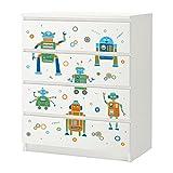 Polini Kids Möbelfolie Möbelsticker Möbeltatoo Möbelaufkleber Aufkleber für IKEA MALM Kommde mit 4 Schubladen mit verschiedenen Motiven (weiß)