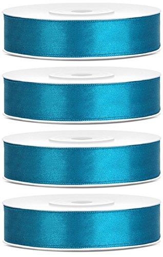 SiDeSo® SATINBAND 100m x 12mm (4x25m Rolle) viele Farben Hochzeit Dekoband Geschenkband Antennenband Schleifenband (türkis)