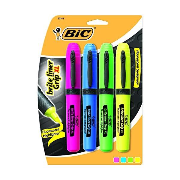 Brite Liner Grip XL Highlighter, Chisel Tip, Fluorescent, 4/Set, Sold as 1 Set