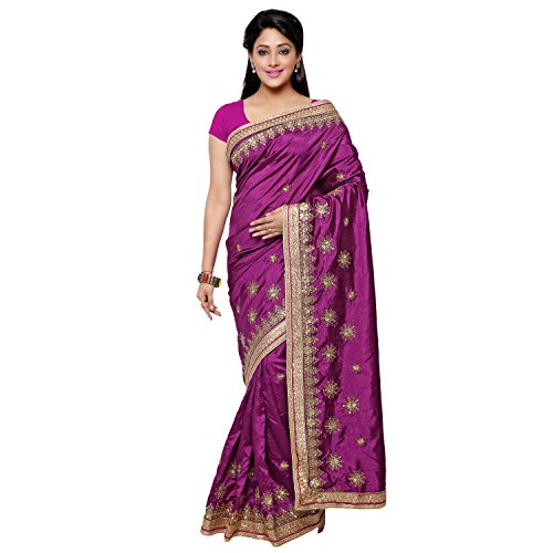 Chirag Sarees Designer Party Wear Purple Embroidered Saree…