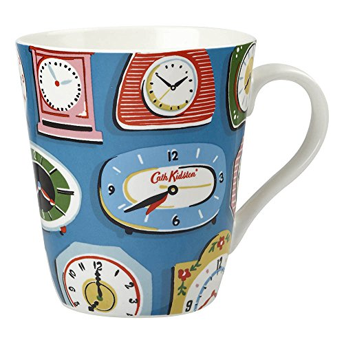 Cath Kidston 500 Ml Fine China Clocks Stanley Mug, Cobalt