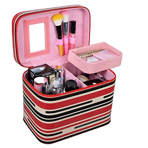 Sac cosmétique tridimensionnel Petite boîte de rangement portable Sac cosmétique Sac à main grande capacité Boîte à cosmétiques Simple (rouge)