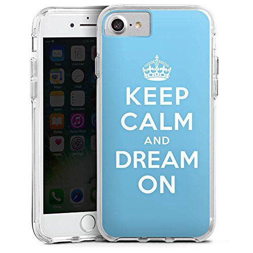 Apple iPhone 6s Plus Bumper Hülle Bumper Case Glitzer Hülle Keep Calm and Dream On Phrases Sayings Bumper Case transparent