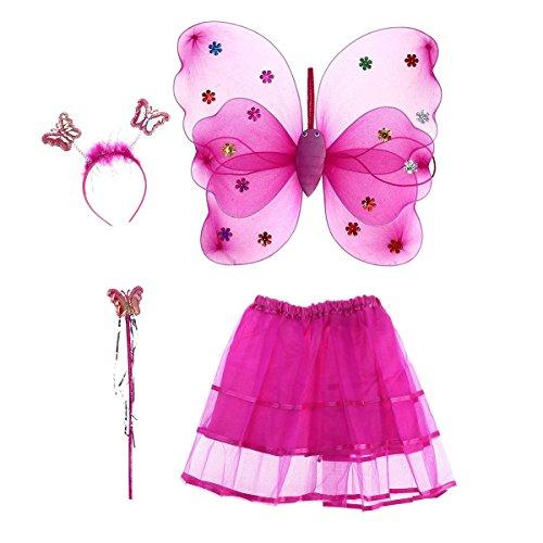 ZWOOS Mädchen Fee Kostüme mit Flügel Stirnband Kinder Fee, 4 Stücke Prinzessin Kostüm Tutu Rock Set (Rosa)