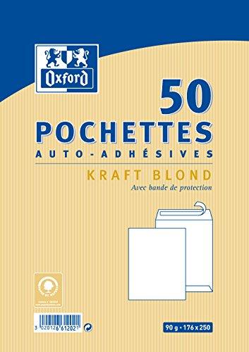 Oxford Pack de 50 pochettes auto-adhésives 176x250mm kraft blond