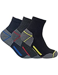 Mens Ultimate Cushioned Cotton Low Cut Ankle Work Socks for Steel Toe Boots