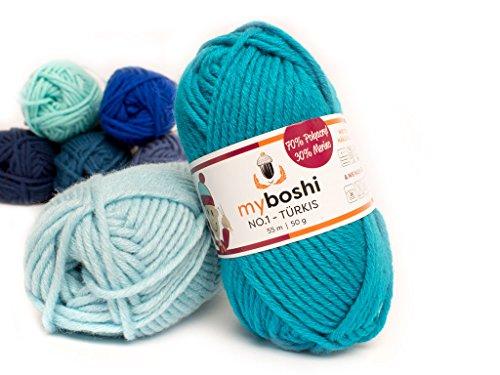 50g myboshi original No.1 Wolle LL 55 Meter Farbe: Türkis