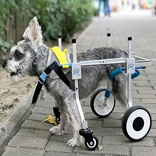 HUADEGO Perro Mascota Ajustable Silla de Patas traseras rehabilitación, 2 Ruedas Ruedas de Carrito de Perro
