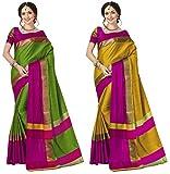 Art Decor Sarees Women's Cotton Silk Saree with Blouse Piece, Free Size(Art Decor Set-024, Multicolour) - Pack of 2