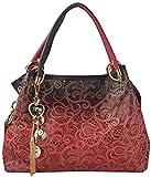 Miss KeKe Tote Handtasche Damen Umhängetasche Handbag Casual Unterschrift Druck Pu Leder Tote,Red