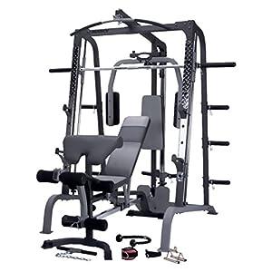 MARCY SM4000 Smith-Maschine Kraftstation mit Hantelbank für Heim-Fitness-Studio Schwarz, One Size