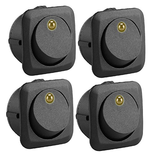 Qiilu 4 PCS 12 V Auto Rocker Toggle Switch mit LED Gelb Licht für Auto Boot