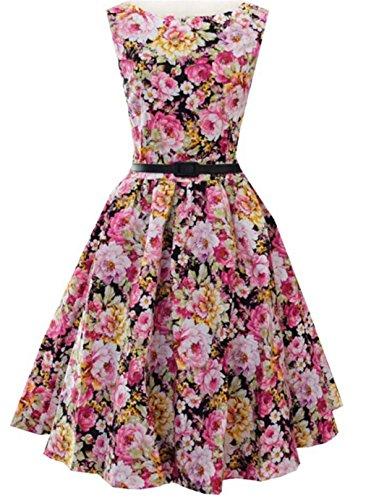 SHUNLIU Damen Retro Vintage Cocktailkleid 2017 Revers Vintage schlank Cocktailkleid Ärmellos kleid Petticoat Faltenrock Partykleid Gr.S-XXL Bunt
