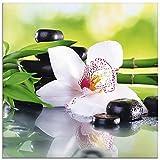 Artland Glasbilder Wandbild Glas Bild 20x20 cm Quadratisch Zen Spa Wellness Entspannung Blumen Pflanzen Steine Bambus Orchideen T9IQ