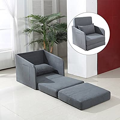 HOMCOM Single Sofa Bed Armchair Soft Floor Sleeper Lounger Futon Couch w/ Pillow and Pocket Grey - inexpensive UK light store.