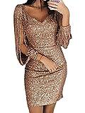 Minetom Damen Mini Dress Abendkleider Sexy V-Ausschnitt Cocktailkleid Glänzend Hoch Maxikleider Hochzeit Festlich Pailletten Bodycon Dress Gold DE 44