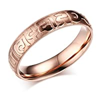 Vnox 4mm Women's Stainless Steel Om Mani Padme Hum Band Ring for Buddhist Rose Gold UK Size N 1/2