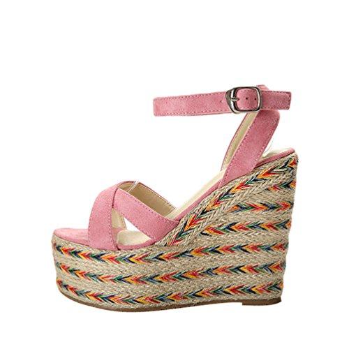 Lvguang Mujeres Pescado Boca Plataforma Tacones Altos Cuña Sandalias Verano  Zapatos Rosado. 47f60d2077ef