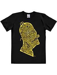 T-shirt Simpson Head in Words tête pleine de mots haute qualité coton noir