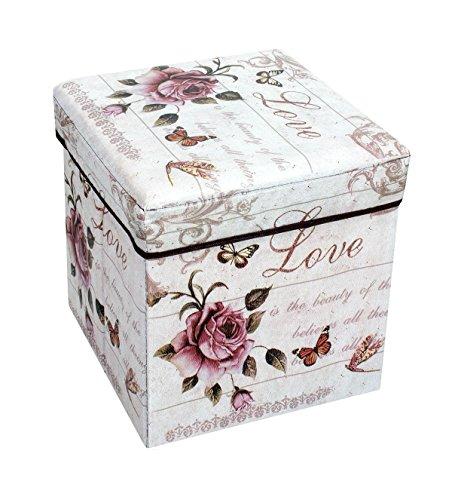 Amazinggirl Sitzhocker Hocker mit Stauraum Sitzwürfel - Faltbarer Würfel Sitzbox zur Aufbewahrung Blumen Motiv