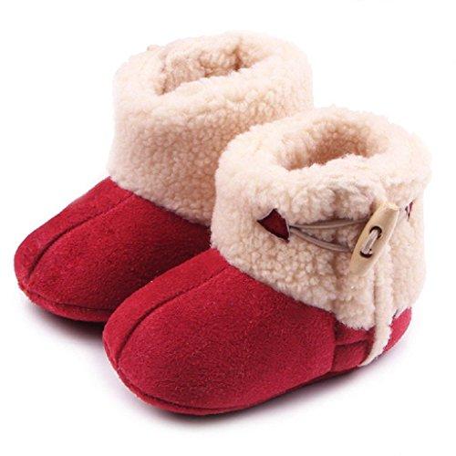 Auxma Baby schönen Herbst Winter warme weiche Sohle Schneeschuhe weiche Krippe Schuhkleinkind Stiefel (14cm(12-18 Monate), Rot) (Kleidung Schuhe Bow Wohnungen,)