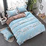 WHoIppRmOrella Mako Satin bettwäsche 3/4 TLG Bettwäsche Set Reißverschluss aus 100% Baumwolle-Z- 1 Deckenbezug 150x200cm und 1 bettwäsche 200x230 und 2 Kissenbezug 48x74cm