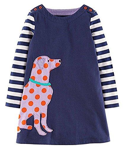 neck Langarm Kleid Sommer Drucken Baumwolle Cartoon T-Shirt Kleid 1-7 Jahr (3 Jahr, Dog) (Drei Passende Halloween-kostüme)