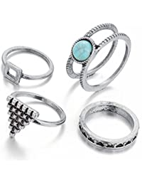 Hot And Bold Silver Plated Natural Stone Trendy Midi Finger Ring For Women & Girls. Designer Fashion Jewellery...
