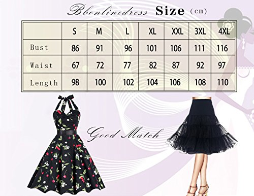 Bbonlinedress 1950er Neckholder Vintage Retro Rockabilly Cocktail Party Kleider Black 2XL -