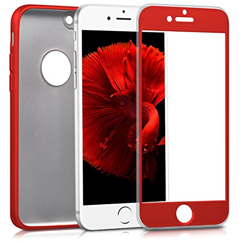 kwmobile Custodia per Apple iPhone 7 - Cover full body fronte retro per cellulare in TPU silicone - Back Case protezione 360 gradi rosso scuro metallizzato