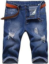 OCHENTA Jeans Short Déchiré Homme Bermuda Trous Jeans Sans Ceinture Type Mince Taille Ajustée