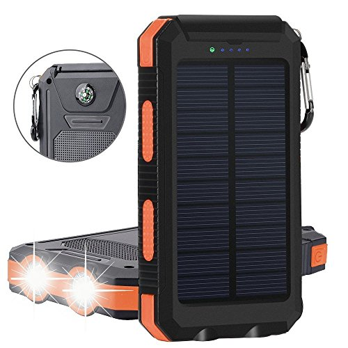Bovon Caricabatteria Solare 10000 mAh Pannelli Power Bank Batteria Esterna Charger Dual USB Impermeabile Moschettone Bussola LED Torcia Portatile per Telefoni Fotocamera Tablet (Oro-Nero)