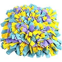 Snuffle Mat Chien Jouets [45 x 45cm], Beetest® Soft Pet Nez Oeuf de Travail Snuffle Mat Formation Nourrir Foraging Compétence Couverture Jouets Jaune Bleu