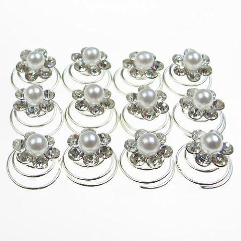 Jewellery of Lords Clou de 12cristaux Tchèques Transparent autour de perle en forme de fleur mariée cheveux broches de spirale de 350à vis