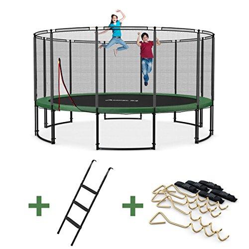 Ampel 24 Deluxe Outdoor Trampolin 490 cm mit Netz, Leiter & Windsicherung | Gartentrampolin mit dem Max an Sicherheit | Belastbarkeit 180 kg | Gratis Expander