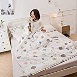 TYXQ Blankets with Sleeves,Autumn and Winter Washed Cotton Lazy Quilt,Microfibre Soft and Fluffy,Dormitory Children's Student Sofa Single Bed Anti Kick warm Blanket