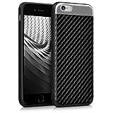 kwmobile Hülle für Apple iPhone 6 / 6S - Case Handy Schutzhülle TPU Silikon Aluminium Carbon Bezug - Backcover Cover Schwarz Silber