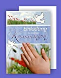 Feste Feiern zur Kommunion I 5 Teile Einladung Doppelkarten mit Briefumschlägen I Weiße Taube mit Hand mehrfarbig
