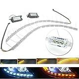 Heinmo LED-Auto-Tagfahrlicht, Blinker, fließend, gelb, stabil, flexibel, Stylingstreifen, Kristall-LED-Balken (weiß + bernsteinfarben) 2 Stück