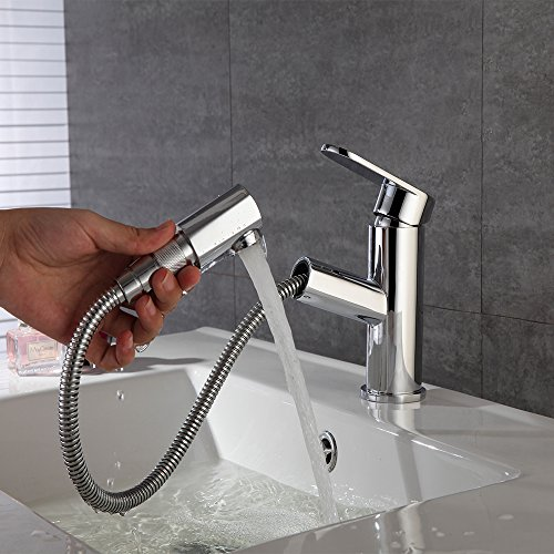 Fandaucy Waschbecken Armatur mit ausziehbarem Brause Wasserhahn Bad Mischbatterie Badarmatur Waschtischarmatur Einhebelmischer Küche