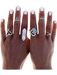 SODIAL(R) Boho 6pc Silver Stack Plain Above Knuckle Ring Crystal Midi Finger Tip Rings Set