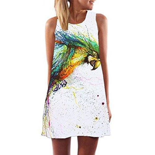 Elecenty Damen Ärmellos Sommerkleid Minikleid Strandkleid Partykleid Mädchen Blumenmuster Kleider Frauen Mode Kleid Kurz Hemdkleid Reizvolle Blusekleid Kleidung Cocktailkleid (M, Weiß 10)