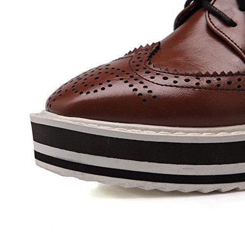 AgooLar Femme Lacet à Talon Correct Pu Cuir Couleur Unie Carré Chaussures Légeres Brun