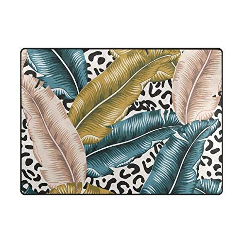 Orediy - Alfombra Suave con diseño de Hoja de plátano Tropical, Ligera, para Jugar al Suelo, Antideslizante...
