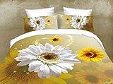 Strahlendes 3D-Sonnenblumen-Bettwäsche-Set für ein doppelgroßes Bett (Double-King-Size) - 3er Set mit Bettbezug + 2Kissenbezügen - Mikrofaser-Haptik, gelb, King Size