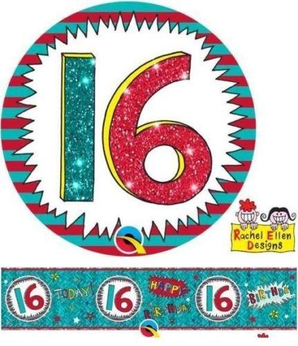 Age 16/16 (DE) Geburtstag, Rachel Ellen Design Wow-Spruchband & Big Button