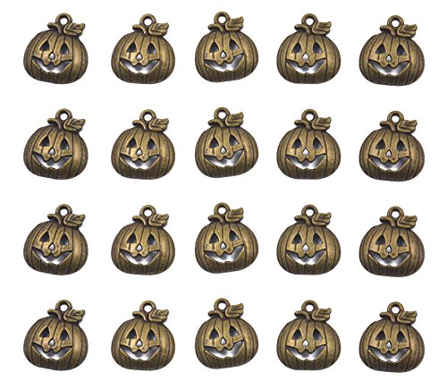 Hellery 20pcs Charms Kürbis Herbst Thanksgiving Halloween 18x1mm Antique Making Vintage Bronze Zink Legierung Anhänger